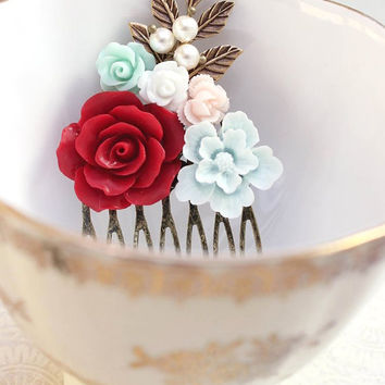 Floral Collage Comb Coral Pink Rose White Mint Aqua Flower Pearls Gold Brass Leaf Leaves Retro Rockabilly Wedding Bridal Hair Accessories