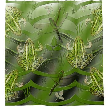 Camo Frogs Dragonflies Shower Curtain