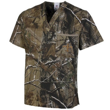 New Orleans Saints Scrub Top - Realtree Camo