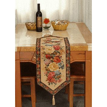 Tache Colorful Country Rustic Floral  Morning Awakening Table Runner in Different Sizes (DSC3089B-3343)