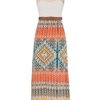 Lace top belted maxi dress