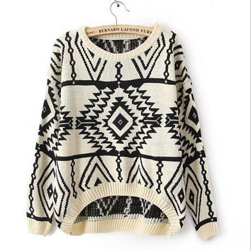 Irregular geometric pattern sweater
