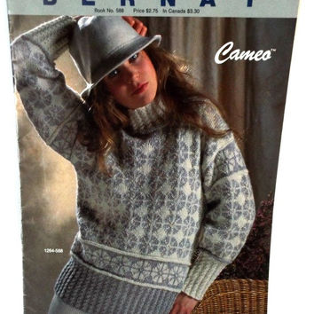 Womens Fair Isle Pullover Sweater Bernat Knitting Pattern Leaflet  588 Cameo Vintage 1986 Destash