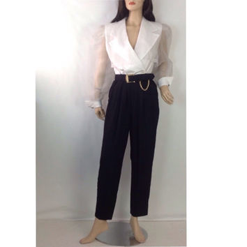 Vintage Evening Jumpsuit Black and White Jumpsuit Puffy Sheer Sleeves Cocktail Party Jumpsuit High Fashion vintage size 9 waist 28 waist