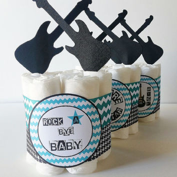Rock A Bye Baby Diaper Cake, Rockstar Mini Diaper Cakes, Boys Rock, Future Rock Star Baby Shower Decor, Baby Boy Shower Centerpieces