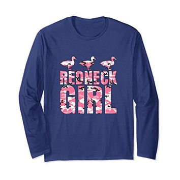 Redneck Girl Pink Camouflage Ducks Long Sleeve Shirt