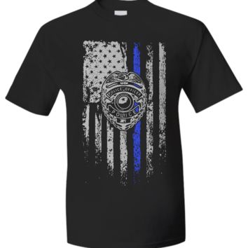 Law Enforcement Patriotic Thin Blue Line with Shield