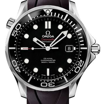 Omega Seamaster 41 mm Black Dial Men's Watch with Black Rubber Strap 212.30.41.20.01.003