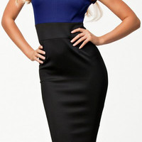 Blue and Black Short Sleeve Bodycon Dress