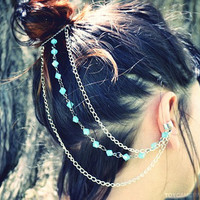 Silver Chain Ear Cuff- Blue Beaded