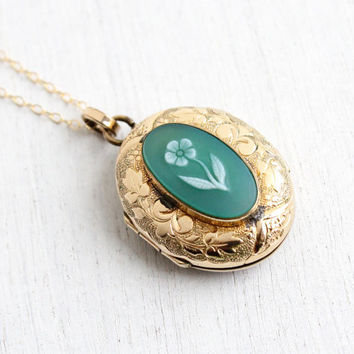 Antique Gold Filled Flower Locket Necklace - Banded Green Onyx Stone Carved Floral Forget Me Not Cameo Victorian Era 1880s Jewelry