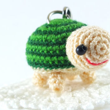 Mini Green Tone Turtle Amigurumi Crochet Doll Cell Phone Charm with Black Beads Eyes // Petit, Little, Miniature Craftg