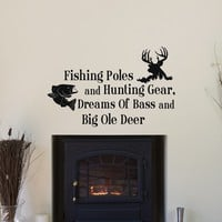 "Country Wall Decals Fishing Poles And Hunting Gear Dreams Of Bass And Big Ole Deer Wall Decal Quote Bedroom Kids Living Room Rustic Wall Decor |Q121| by FabWallDecals (14"" Tall x 23"" Wide)"