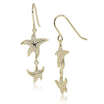 Yellow Gold Plated Sterling Silver Double Starfish Pave CZ Hook Earring