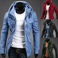 Jeansian Mens Jackets Blazer Coats Shirts Tops Outerwear 4 Colors 4 Size 9032