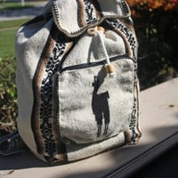 Peruvian Handmade Cream Tribal Backpack