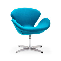 Modern Curved Swivel Chair - Turquoise