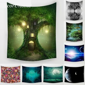Night Scenery Trees Moon Flowers Wall Art Decor Tapestry