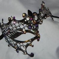 Metal Phantom of the Opera Masquerade Mask with Purple and Gold Accents