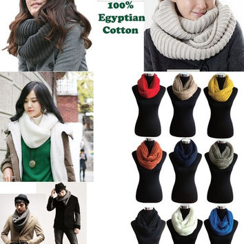 Unisex Women Winter Warm Infinity 2 Circle Cable Knit Cowl Neck Scarf Shawl = 1946563652