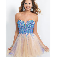 Preorder - Intrigue by Blush 101 Amethyst & Nude Jeweled Strapless Dress 2015 Homecoming Dresses