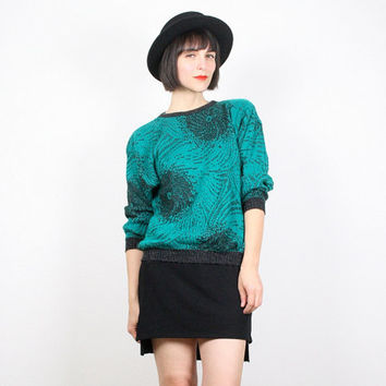 Vintage Green Gray Sweater Cosby Sweater Pullover Jumper Charcoal Gray Emerald Green Abstract Print Knit New Wave 1980s 80s Sweater S Small