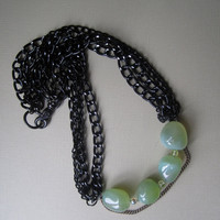 Green Chalcedony in Chains Statement Necklace by BijouxEmmElle