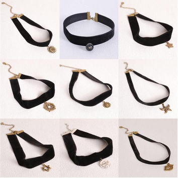 Goth Black Velvet Ribbon Imitation Pearl Star Cross Gothic Tattoo Choker Necklace Sailor Moon Cosplay Jewelry Women Accessories