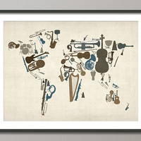 Music Instruments Map of the World Map Art Print by artPause on Etsy