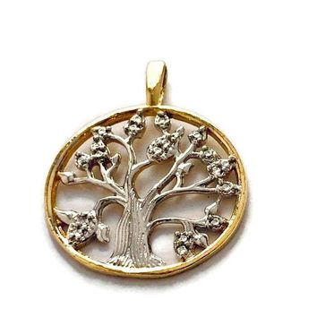 TREE OF LIFE  SILVER AND GOLD PLATED PENDANT