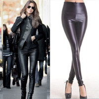 Sexy Womens Faux Leather Look High Waisted Stretch Skinny Leggings Black Pants