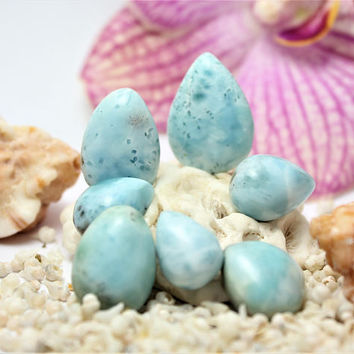 Lot of 7 Larimar Teardrop Cabs Marbled Sky Cabochons pear pectolite aqua turquoise blue beach tear drop stone  10g 50ct OOAK boho surfer gem