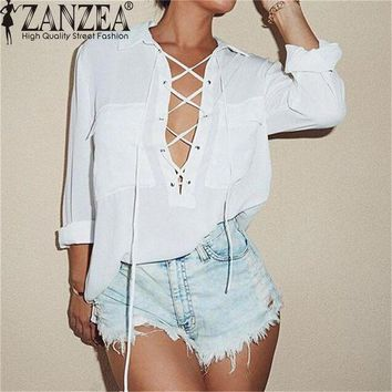 PEAP78W ZANZEA Chiffon Blusas 2017 Fashion Sexy Lace Up Women Blouses Long Sleeve Shirts Femme Casual Loose Solid Pockets Top Plus Size