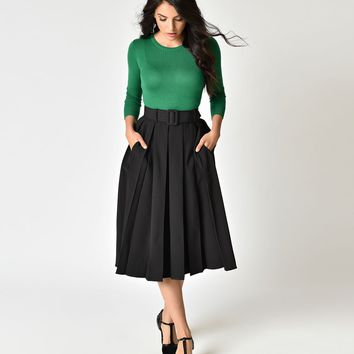 Collectif Black Pleated & Belted Harper Swing Skirt