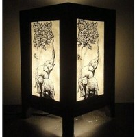 Thai Vintage Handmade Oriental Elephant Zen Art Bedside Table Lamp Wood Shades Lights