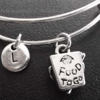 Food to go charm bracelet, Stainless Steel Expandable Bangle, monogram personalized item No.690