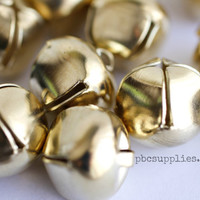 11 Gold jingle bells, bell charms, Gold Shimmy Jingle Bells, Jewelry Making Gold Charm Supplies, Craft Supplies, Gold Gypsy Bell Charms