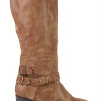 Tall Heeled Boot with Buckles at Ankle and Top