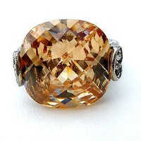 5 Ct Citrine Ring Sterling Silver Size 5.5 Gemstone Fashion Jewelry