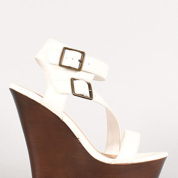 Bamboo Faux Wood Double Buckle Strappy Wedge