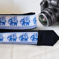 Lucky Elephants Camera Strap. Ethnic Camera Strap,  White Blue Camera Strap