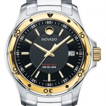 Movado Series 800 Men's Two Tone Stainless Steel Black Dial 40mm Watch 2600097