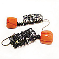 Orange earrings - Black Earrings -Tangerine earrings -Crochet earrings - Pumpkin earrings - Halloween - Fall Jewelry