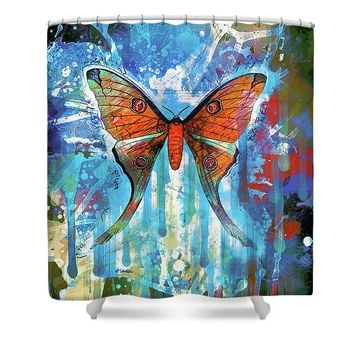 Whimsical Butterfly Collage Shower Curtain