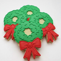 Christmas wreath decorated cookie favors, 1 dozen cookies