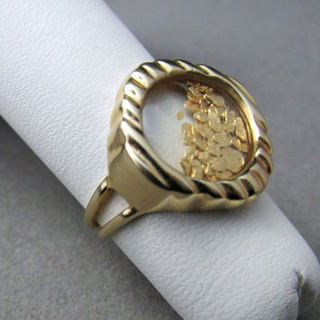 14k 24k Natural Gold Nugget Ring Floating Nuggets Movable Bubble
