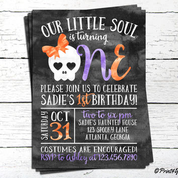 1st Birthday Halloween Invitation // Personalized Printable Our Little soul 1st Birthday Invitation // Skull Invitation // 1st Birthday