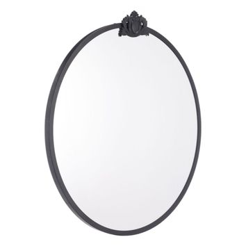 Empire Round Mirror, In Black