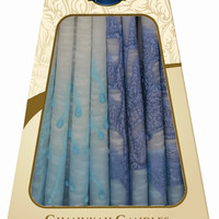 Lamp Lighters Ultimate Judaica Safed Chanukah Candles - 45 Pack - Blue/Turquoise/White - 6""