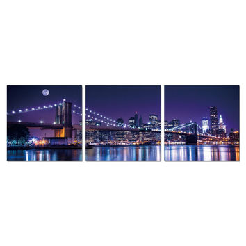 Furinno Senic Nyc The City Never Sleeps 3-Panel Canvas On Wood Frame, 60 X 20 Inches